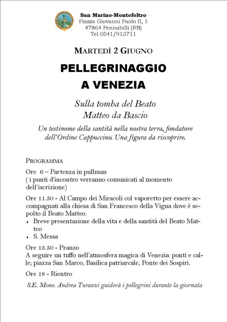 Locandina Pellegrinaggio a Venezia